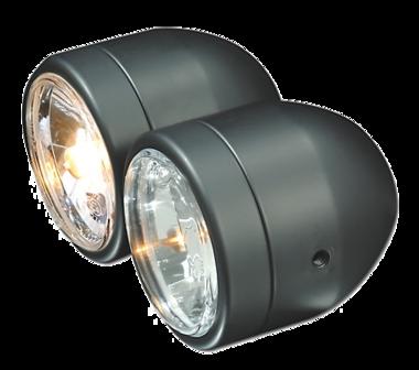 Dubbelkoplamp zwart