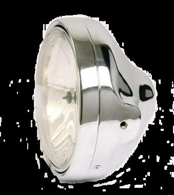 LTD chroom Koplamp H4, 7 inch, ronde montagegaten, met prisma reflector en helder glas