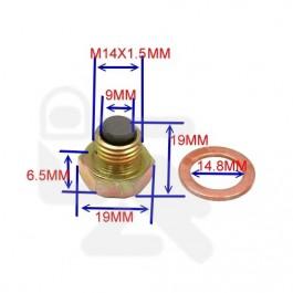 Aftapplug M14 x 1,5 met magneet